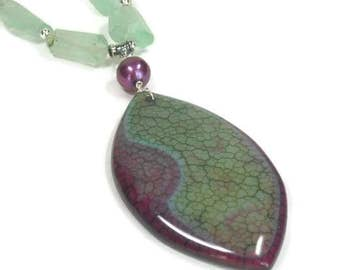 Sale| Mint Flourite Gemstone Necklace, Flourite Necklace with Dragon Vein Pendant, Green, Purple, Green Stone, Sterling Silver, Boho, Handma