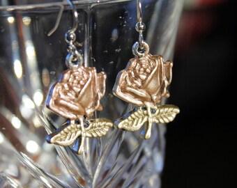 Hand Painted Rose Charm Earrings, Rose Earrings, Flower Earrings, Patina Rose Earrings