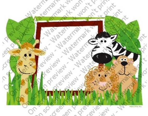 Jungle Animals Birthday - Edible Cake and Cupcake Photo Frame For Birthday's and Parties! - D4134