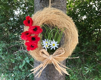 Country house hostess gift, poppy arrangement, rustic poppy wreath, housewarming gift country house, country decor, summer flower wreath