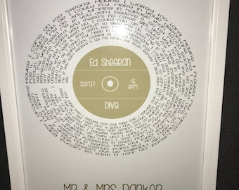 Personalised framed Record Lyric Print