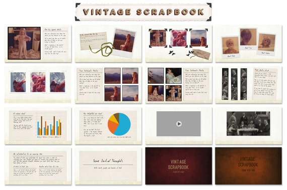 vintage scrapbook powerpoint presentation templates for, Modern powerpoint