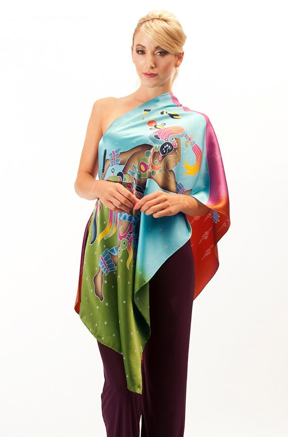 Colorful Mayan warrior and dove bird hand made silk scarf.