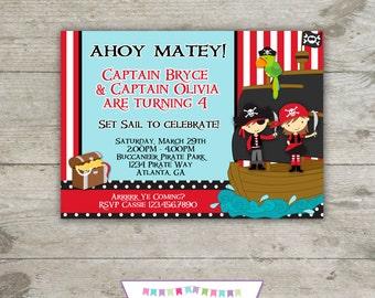 PIRATE BOY & GIRL Invitation 5x7 Birthday Party - Printable