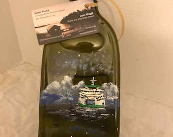 Hand Painted Seattle Ferry Amber Glass Wine Bottle Tray/Platter