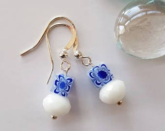 Cute Blue Flora Bead Dangle Earrings
