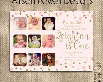 Gold Glittler and pink confetti photo birthday invitation, 1st birthday, Little Girl, Pink, Gold