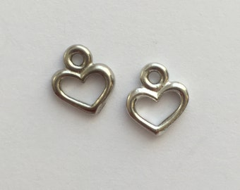 2 Silver Open Heart Charm, Pewter, package of 2