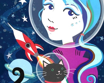 Espace chat impression - espace Art - chat Illustration - chat Art - espace Illustration - espace chat - chat cadeau