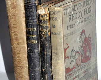 Old School Books. Antique Book Collection. Book Decor. Stack of Books. Old Book Bundle. Antique Childrens Books. 1800s Books.