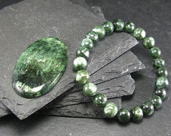 Seraphinite  Clinochlore Angels Wings Natural Stone 8 MM Bracelet For Contact With Angels & The Divine Feminine