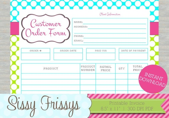 customer order form template
