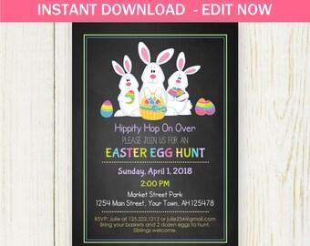 Easter Invitation - EDIT NOW - digital file - Easter Egg Hunt or birthday Instant Download