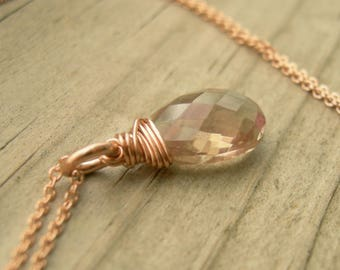 Oregon Sunstone Rose Gold Necklace