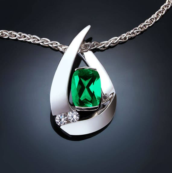 emerald necklace, emerald pendant, May birthstone, Chatham lab grown emerald, white sapphires, Argentium silver, fine jewelry, artisan 3378
