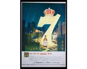 1949 Ad Seagram's Seven Crown Whiskey, City Lights, NYC, Post war Vintage Print Ad ETK324