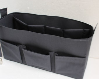"Extra Large Bag organizer in Grey - Purse insert 13""W x7""H x4""D in Charcoal"