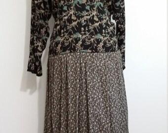 Drop waist dress, L, XL, Karin Stevens dress, black floral dress, folksy dress, calico print dress, long sleeve dress, fall dress