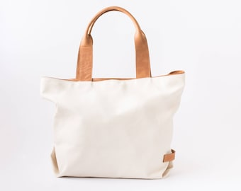 leather and canvas, canvas tote bag, canvas shoulder bag, leather tote bag, canvas leather tote, leather canvas tote, Handmade leather bag