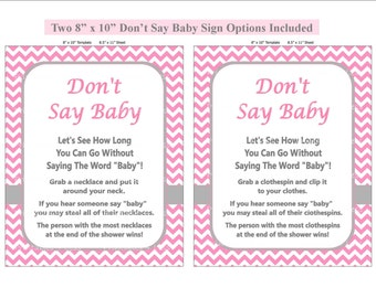 Pink Chevron Don't Say Baby Game, Diaper Pin Clothes Pin Game, Printable Clothespin Game, Don't Say Baby Shower Game -Printables 4 Less 0022