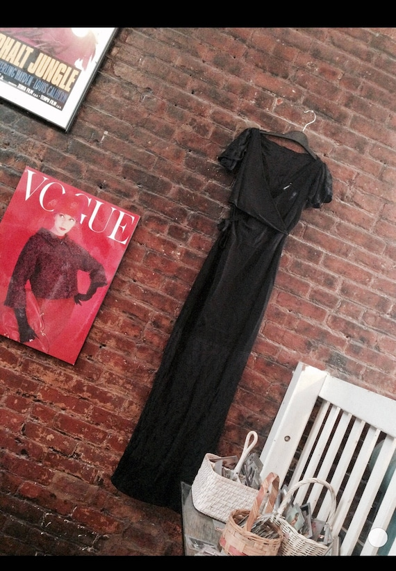 Vintage CHANEL slinky Black  Viscose Knit & Lace Clingy Sexy 90's Maxi Dress