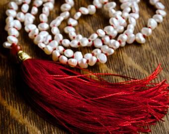 Long red tassel necklace   Boho white pearl mala beads   Long pearl necklace   Handknotted mala necklace 108 beads   Buddhist prayer beads