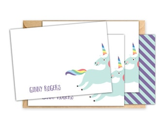 Unicorn Note Cards // Unicorn Notecards // Personalized Stationary // Gifts for Girls // Unicorn Stationery // Personalized Note Cards