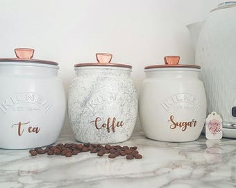 Grey/Silver/White/Copper Painted, Tea Coffee Sugar Retro Push Lid, Kitchen canister, Caddy storage Kilner jars