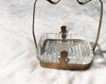 art nouveau jewelry dish, small jewelry dish, metal handle, etched glass, art nouveau, floral, ashtray, earring holder, jewelry organizer