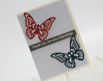 Butterfly Friendship Card, Thank you Card, Greeting Card, For Her, For Him, Blank Card, Thinking of You Card, Embossed, Red, Blue, Purple