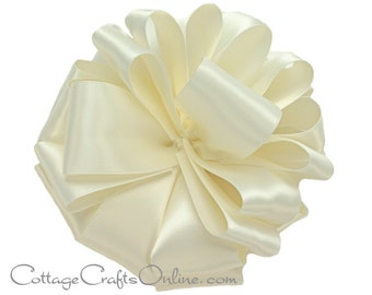 """Satin Ribbon, 1 1/2"""" wide, Antique White Double Sided - FIFTY YARD ROLL - Offray Double Face Satin #9 Cream / Ivory / Off white, Color #28"""