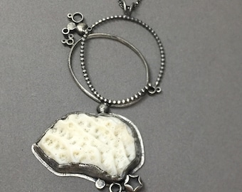 white cream coral big white necklace found coral sterling silver necklace pendant vintage glass metalsmith contemporary modern jewelry