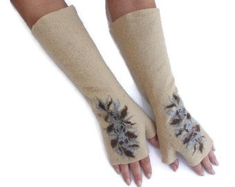 Long Felted Fingerless gloves Fingerless Mittens Arm warmers Gloves Cream Floral