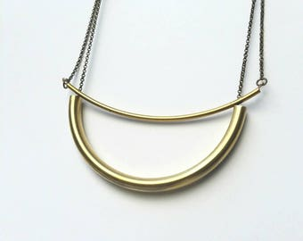 Double curved brass bar tube necklace