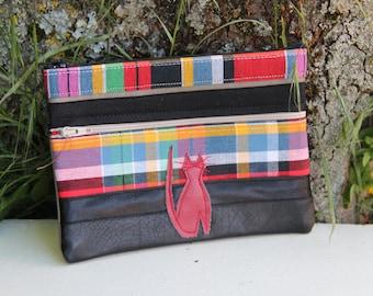 Black Textile Pouch / Cat madras double zipper