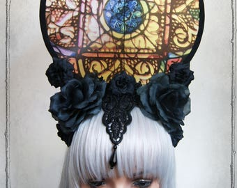 "Headdress ""Notre Dame"" ( Roses, Goth , Fantasy, Headpiece )"