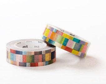 MT 2013 Single Japanese Washi Masking Tape / Bright or Dark Colorful Mosaic for Journaling, scrapbooking, Packaging