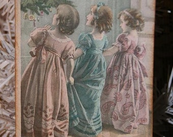 Victorian Sisters on Christmas Morning Hang Gift Tags
