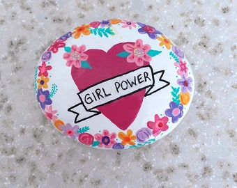 GIRL POWER, heart, banner, flowers, hand painted rock