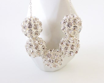 Silver Rhinestone Beaded Necklace -- Large Sparkly Metal Beads -- Sterling Silver Chain & Clasp -- UK Shop