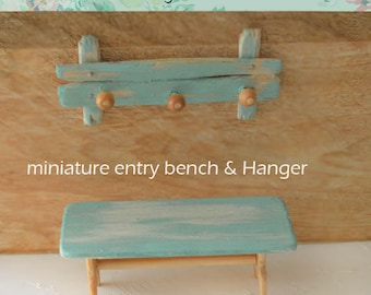 Miniature  Wooden entry bench with coat hanger.