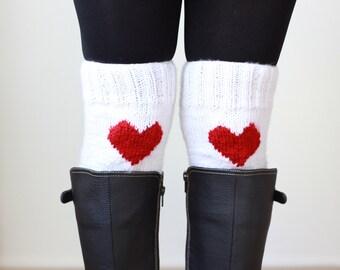 Heart boot cuffs, Women legwarmers, White boot cuffs, Heart Knit cuffs women, Knit boot toppers, Women Knit cuffs, White knee warmers