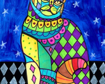 50% SALE- American Wirehair Cat Folk art Poster Print of  Painting  by Heather Galler (HG127)