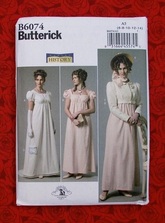 Butterick Sewing Pattern B6074 Regency Ball Gown Jacket