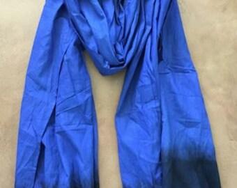 Moroccan Berber Tuareg Scarf- Long Handmade Ethnic Turban Unisex Adult Rich Blue