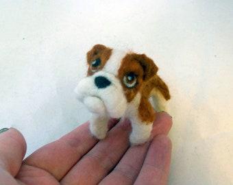 Custom Bulldog - needle felted origonal puppy soft sculpture. - small size