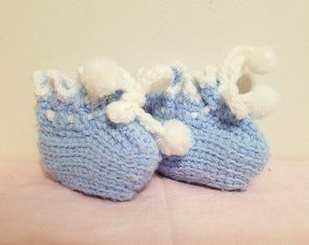 Baby Booties Blue Crochet Socks Vintage Shower Gift