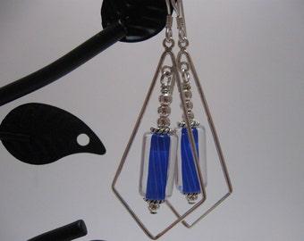 Blue Cane & Sterling Silver Dangle Earrings