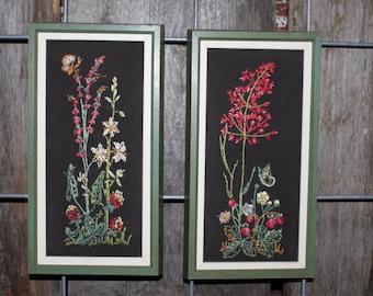 A Pair of Vintage Framed Botanical Embroidery Artwork
