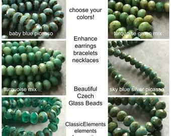 Choose Color 7X5mm Rondelle, 7 x 5mm rondelle, Czech glass beads, Czech glass spacers, Czech Glass, Rondelles,
